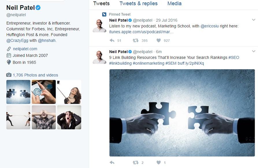 Neil Patel Twitter Feed